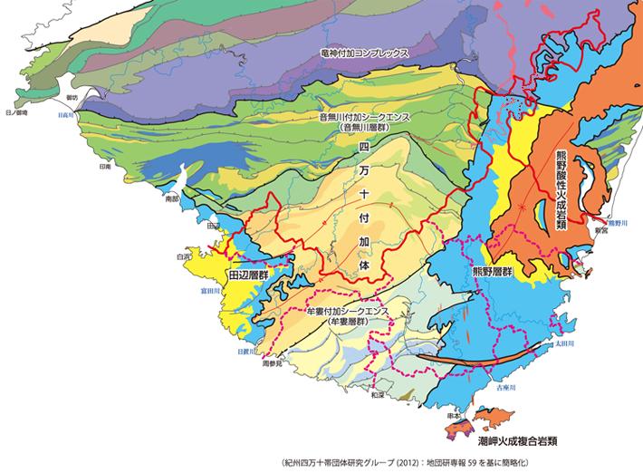 3つの地質体(付加体、前弧海盆堆積体、火成岩体)